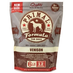 Primal Frozen Raw Canine Venison Formula Patties - 6 lbs
