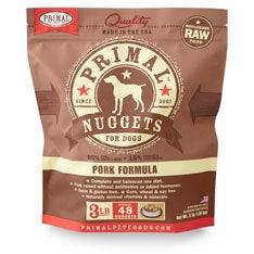 Primal Frozen Raw Canine Pork Formula Nuggets - 3 lbs