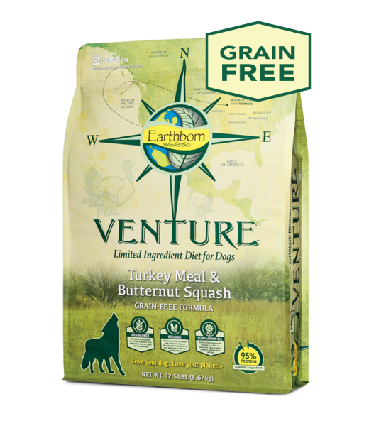 Earthborn Holistic Grain Free Venture Turkey Meal & Butternut Squash LID Dog Food