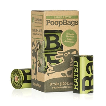 Earth Rated Poop Bag Unscented Dispenser Refill (8 Rolls - 120 Bags)