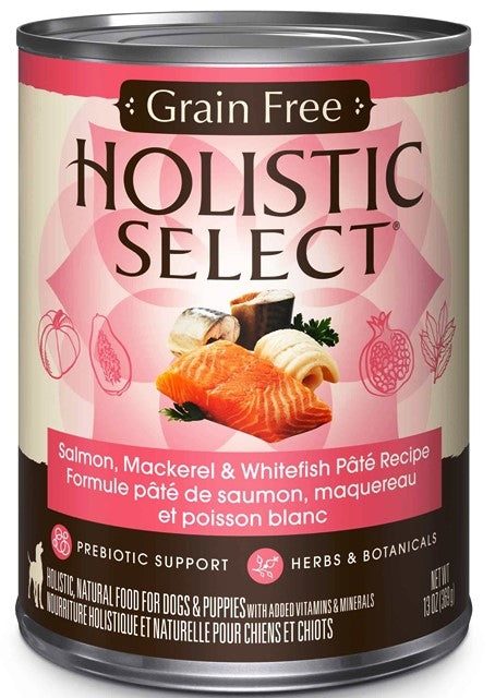 Holistic Select Grain Free Whitefish, Salmon & Herring Pate Recipe Dog Food - 13 oz