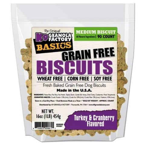 K9 Granola Factory Basics Grain Free Turkey & Cranberry Dog Treats - Medium 90 count - 16 oz.