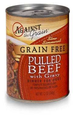 Against the Grain Pulled Beef with Gravy Dinner for Dogs -12 oz.