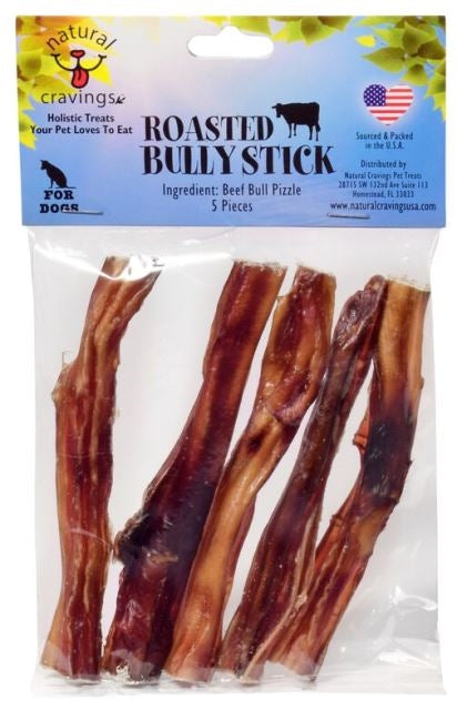 "Natural Cravings Roasted 6"" Bully Stick Dog Chew Treat - 5 pieces"