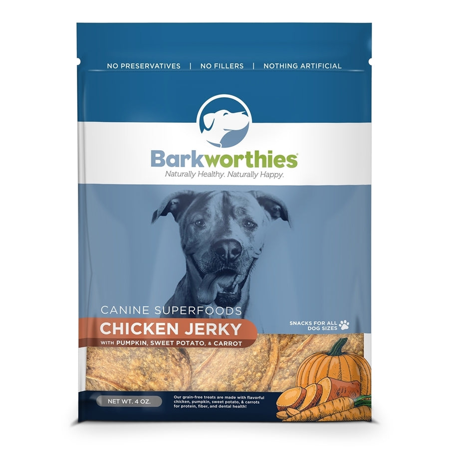 Barkworthies All Natural Chicken Jerky with Pumpkin, Sweet Potato & Carrot Dog Treat - 4 oz.