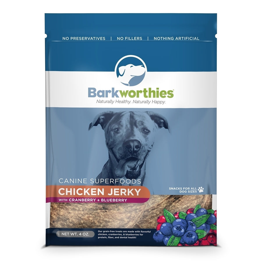 Barkworthies All Natural Chicken Jerky with Cranberry & Blueberry Dog Treat - 4 oz.