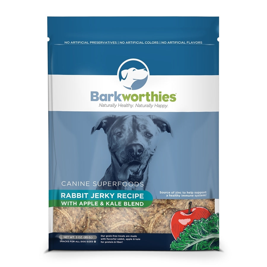 Barkworthies All Natural Rabbit Jerky with Apple & Kale Blend Dog Treat - 4 oz.