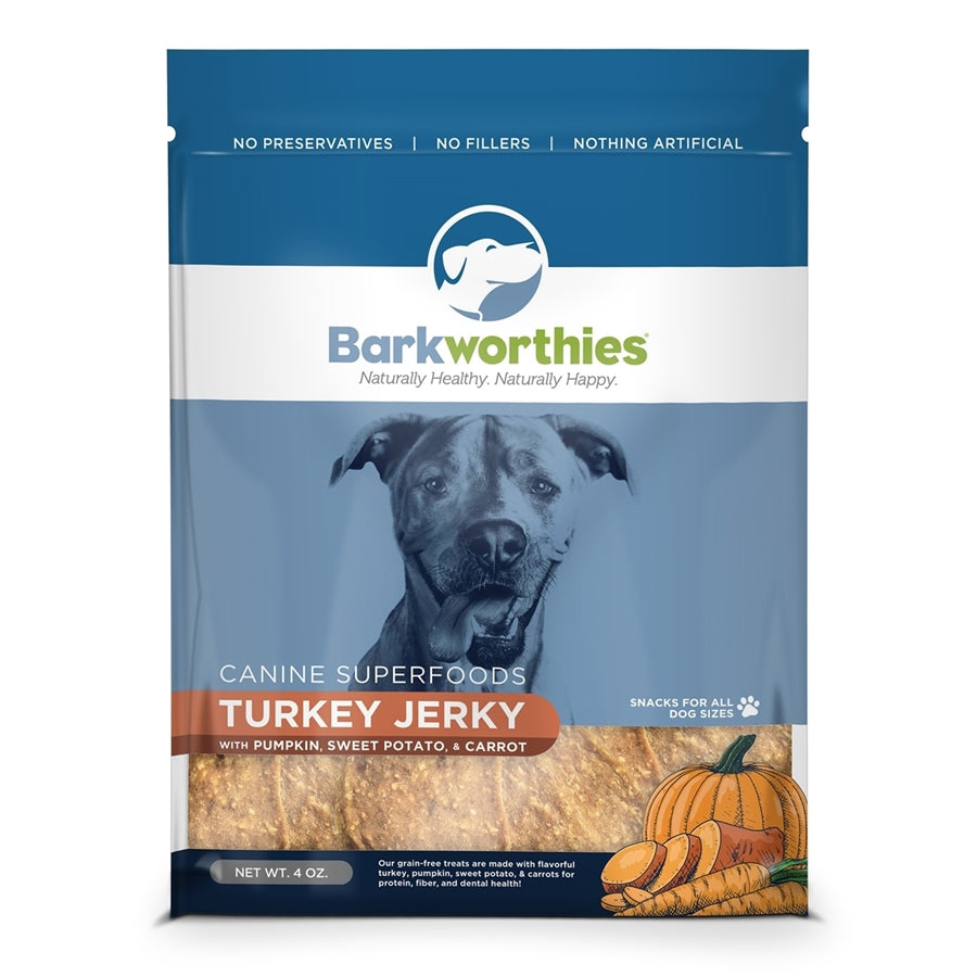 Barkworthies All Natural Turkey Jerky with Pumpkin, Sweet Potato & Carrot Dog Treat - 4 oz.