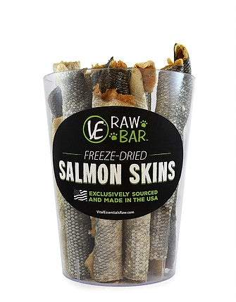 Vital Essentials Freeze Dried Raw Salmon Skins Dog Treat -  1 pc.