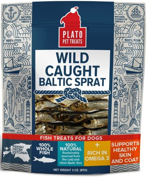 PLATO Wild Caught Baltic Sprat Dog Treats - 3 oz.
