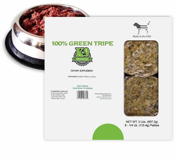 K-9 Kravings Frozen Raw 100% Beef Green Tripe Patties - 2lbs.