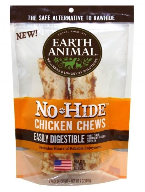 "Earth Animal No-Hide 4"" Chicken Dog Chew Treat - 2 Pack"