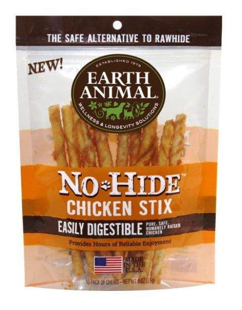 "Earth Animal No-Hide 4"" Chicken Stix Dog Chew Treat - 10 Pack"