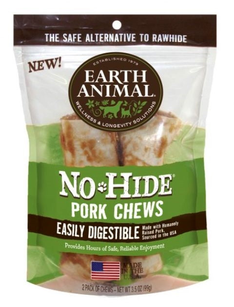 "Earth Animal No-Hide 4"" Pork Dog Chew Treat - 2 Pack"