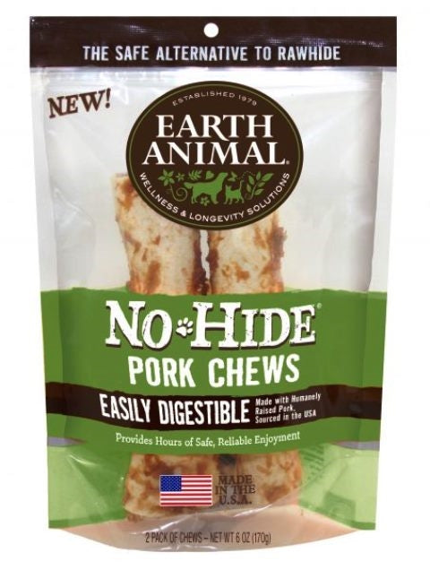 "Earth Animal No-Hide 7"" Pork Dog Chew Treat - 2 Pack"