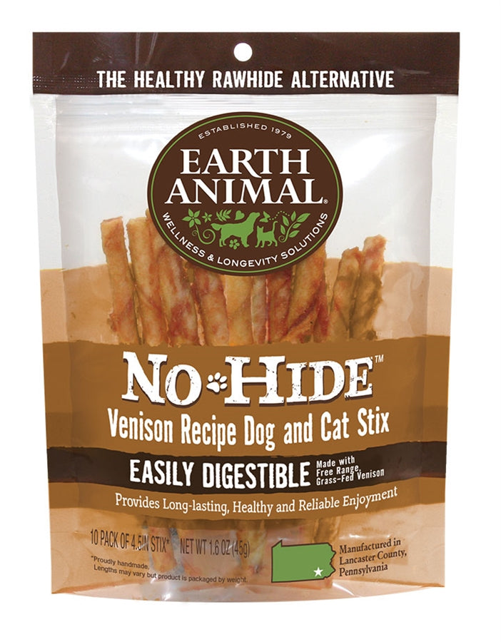 "Earth Animal No-Hide 4"" Venison Stix Dog Chew Treat - 10 Pack"