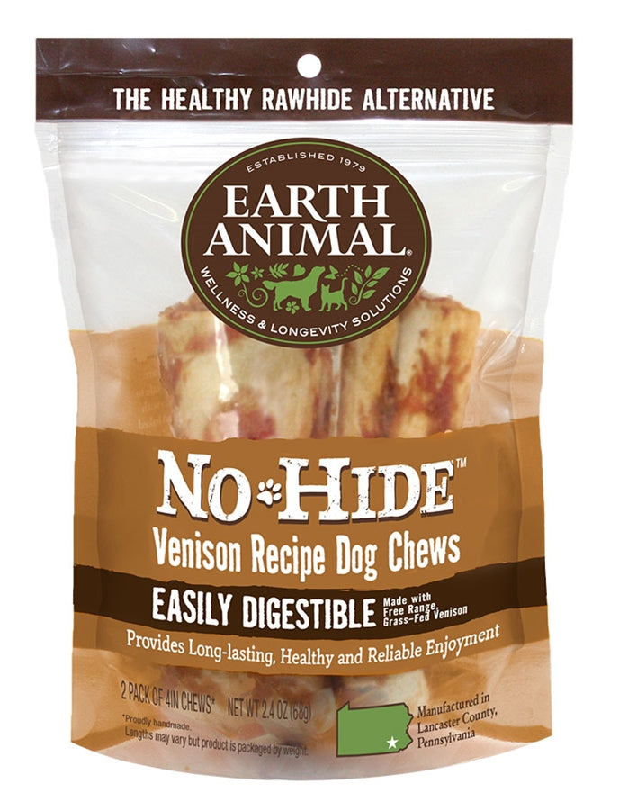 "Earth Animal No-Hide 4"" Venison Dog Chew Treat - 2 Pack"
