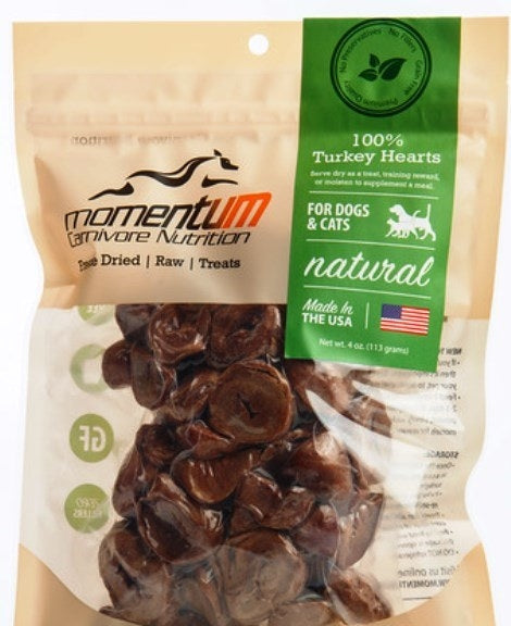 Momentum Carnivore Nutrition Freeze Dried Turkey Hearts Dog & Cat Treats - 4 oz.