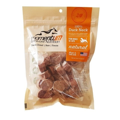 Momentum Carnivore Nutrition Freeze Dried Raw Duck Necks dog & cat Treat - 4 oz.