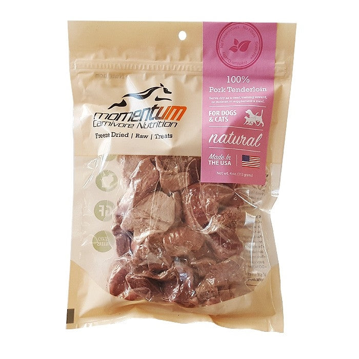Momentum Carnivore Nutrition Freeze Dried Raw Pork Tenderloin Dog & Cat Treat - 4 oz.