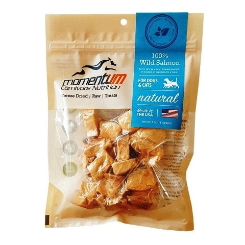 Momentum Carnivore Nutrition Freeze Dried Raw Wild Salmon Dog & Cat Treat - 4 oz.