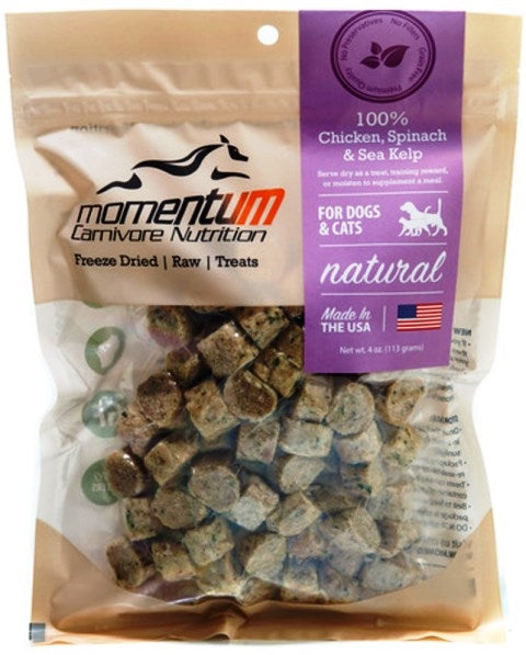 Momentum Carnivore Nutrition Freeze Dried Raw Chicken, Spinach & Sea Kelp Dog & Cat Treat - 4 oz.