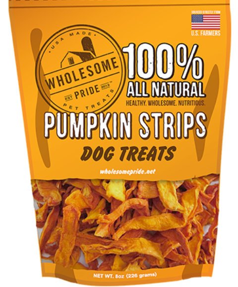 Wholesome Pride Pumpkin Strips Dog Chew Treats - 8 oz