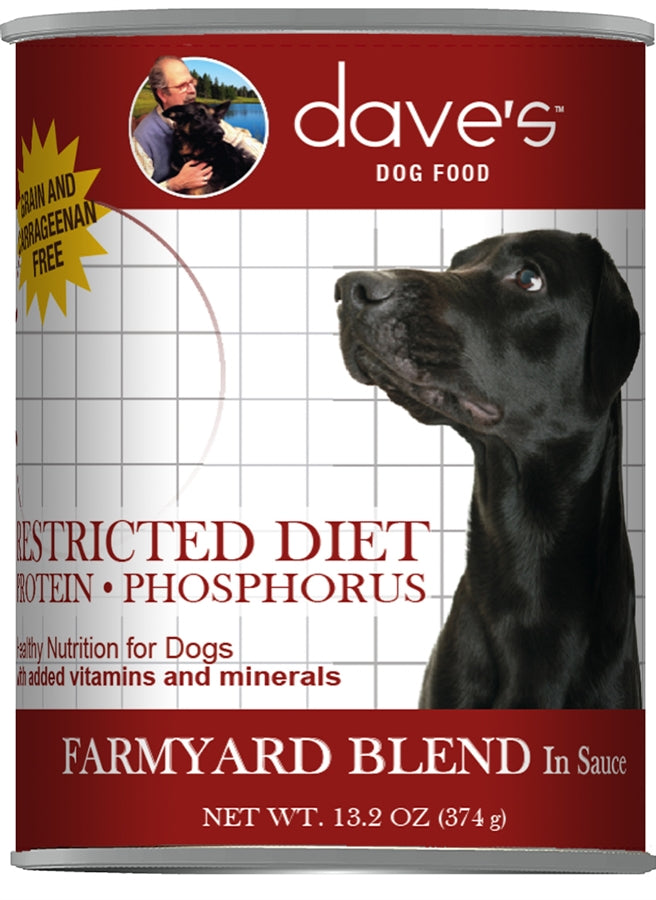 Dave's Restricted Diet Dog Food - Low Phosphorus Farmyard Blend - 13 oz.