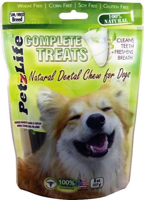PetzLife Complete Treats Natural Dental Chew for Dogs - Small/Medium Breed - 8 oz.