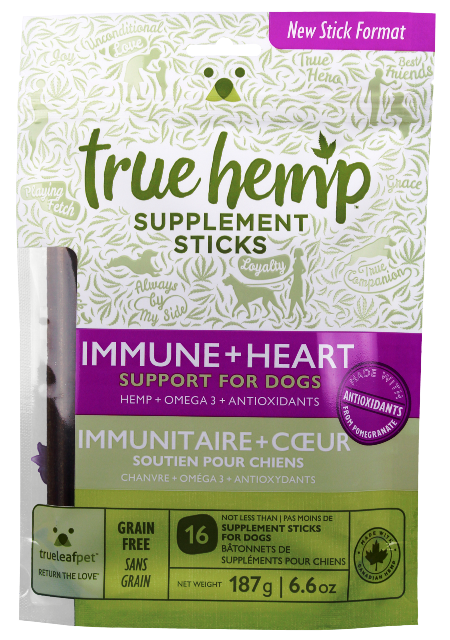 True Hemp Immune + Heart Supplement Sticks Functional Dog Treats - 6.6 oz.