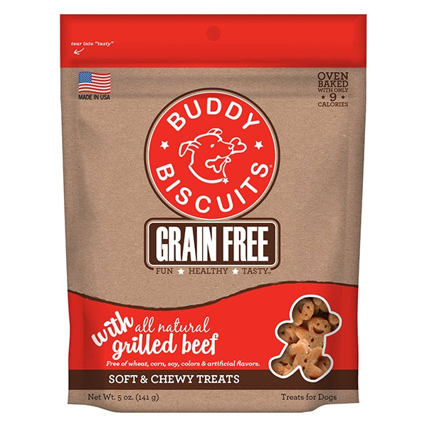 Buddy Biscuits Grain Free Soft & Chewy Grilled Beef Treats for Dogs - 5 oz.