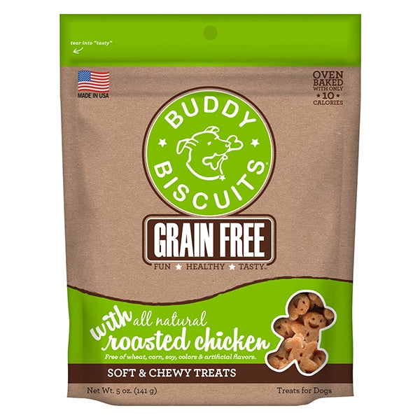 Buddy Biscuits Grain Free Soft & Chewy Roasted Chicken Treats for Dogs - 5 oz.