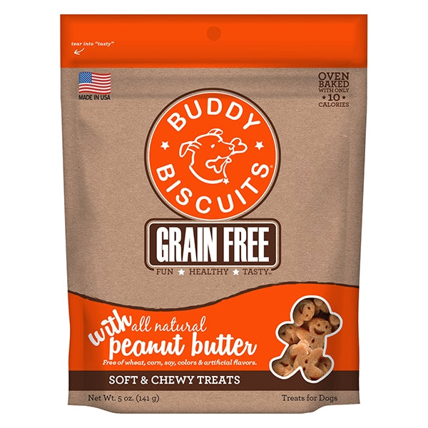 Buddy Biscuits Grain Free Soft & Chewy Peanut Butter Treats for Dogs - 5 oz.