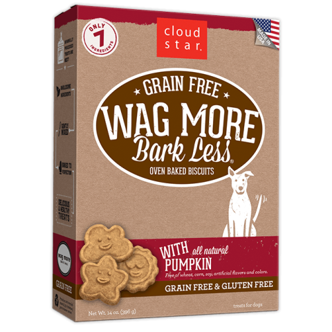 Cloud Star Grain Free Wags More Bark Less Biscuits with Pumpkin Dog Treats - 14 oz.