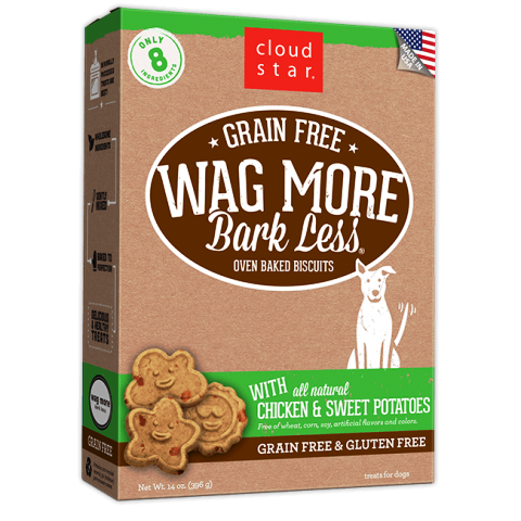 Cloud Star Grain Free Wags More Bark Less Biscuits with Chicken & Sweet Potatoes Dog Treats - 14 oz.