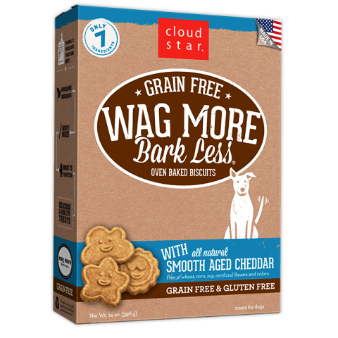 Cloud Star Grain Free Wags More Bark Less Biscuits with Smooth Aged Chedder Dog Treats - 14 oz.