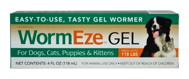 WormEze Gel Wormer for Dogs Cats Puppies Kittens - 4 fl oz