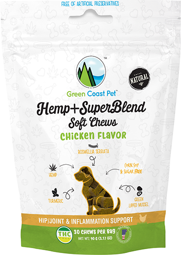 Green Coast Pet Hemp+SuperBlend Soft Dog Chews: Chicken Flavor - 3.17 oz.