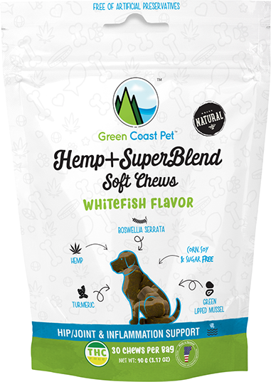 Green Coast Pet Hemp+SuperBlend Soft Dog Chews: Whitefish Flavor - 3.17 oz.
