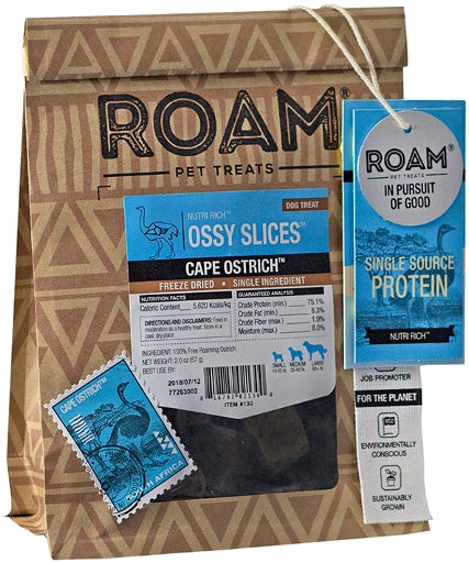 ROAM Ossy Slices Cape Ostrich Freeze Dried Treat for Dogs - 2 oz
