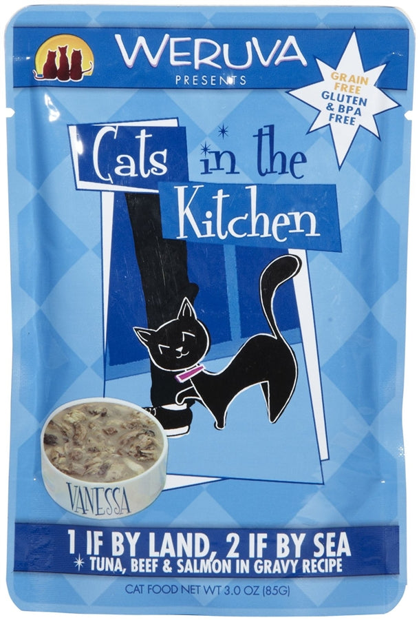 Weruva Cats in the Kitchen 1 IF BY LAND, 2 IF BY SEA Cat Food - 3 oz. Pouch