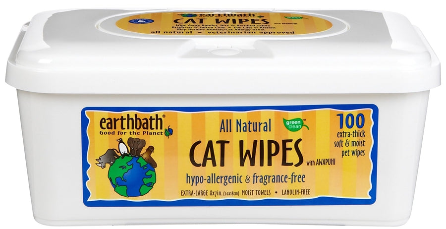 Earthbath Cat Wipes - Hypo-Allergenic & Fragrance Free - 100 wipes