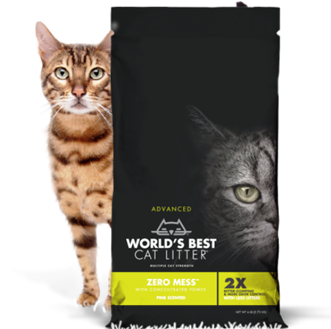 World's Best Cat Litter ZERO MESS  High-Performance Pine Scented Clumping Cat Litter