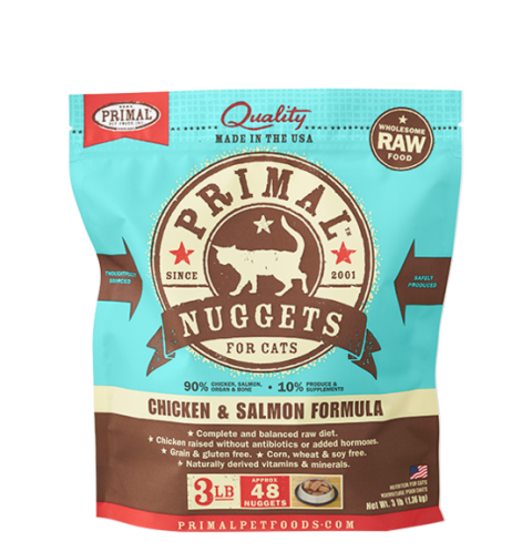 Primal Frozen Raw Chicken & Salmon Formula for Cats - 3 lbs.