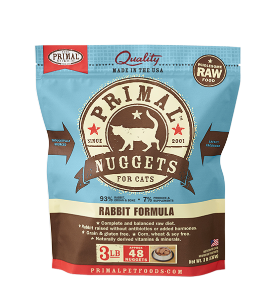 Primal Frozen Raw Rabbit Formula for Cats - 3 lbs.
