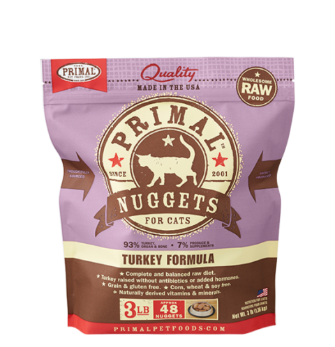Primal Frozen Raw Feline Turkey - 3 lbs.