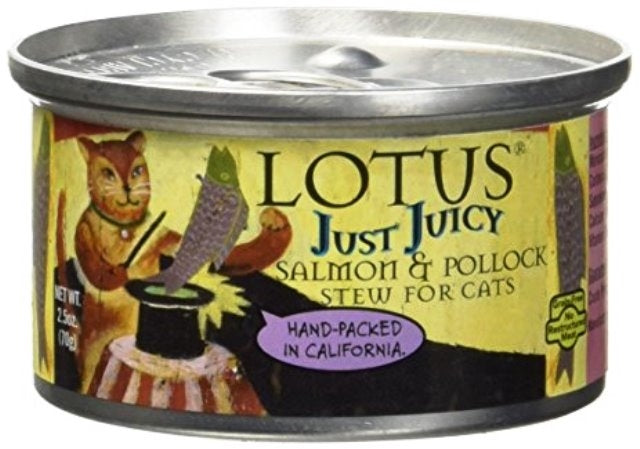 LOTUS Grain Free Just Juicy Salmon & Pollock Stew for Cats - 2.5 oz.