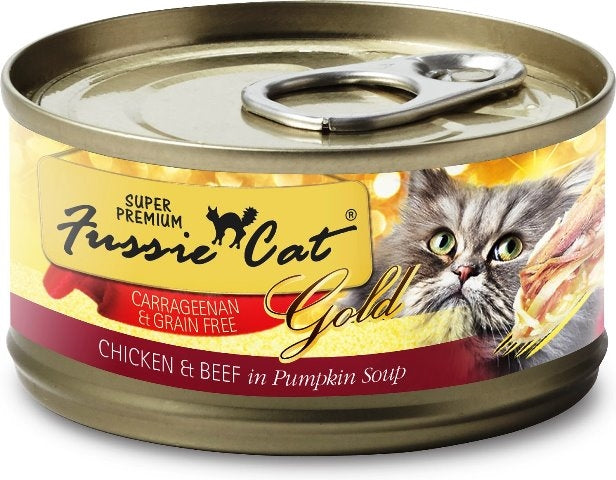 Fussie Cat Super Premium Grain Free Gold Chicken & Beef in Pumpkin Soup - 2.82 oz.