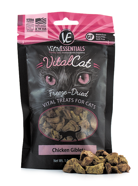 Vital Essentials Freeze Dried Chicken Giblets Cat Treat - 1.0 oz.