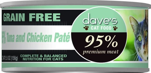 Dave's Grain Free 95% Tuna and Chicken Pate Cat Food  - 5.5 oz.